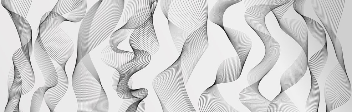 Abstract wave element for design. Set. Digital frequency track equalizer. Stylized line art background. Vector illustration. Wave with lines created using blend tool. Curved wavy line, smooth stripe.