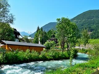 Austrian Alps-view at river Enns in Flachau