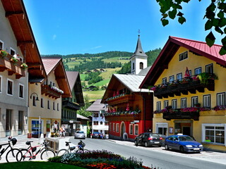 Austrian Alps-view on the square in Wagrain