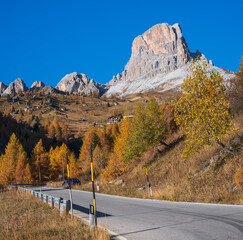 Italian Dolomites peaceful view from Giau Pass.