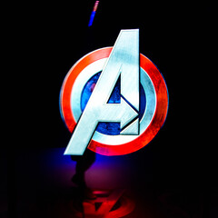 LAS VEGAS, NV, USA - SEP 20, 2017: The Marvel  Avengers logo Station complex in Las Vegas.