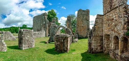 Ruins of Bayham Abbey, East Sussex, UK - church, chapter house and gatehouse