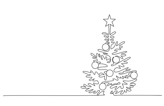 Christmas pine fir tree. Continuous one line drawing