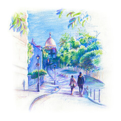 Colour pencil sketch of a pair of lovers walks around quarter Montmartre in Paris, France