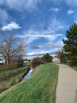 Suburban Bike Path in the Spring