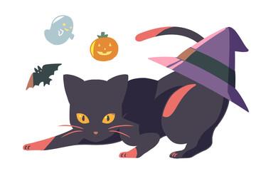 黒猫と後ろに三角帽子(線無し)