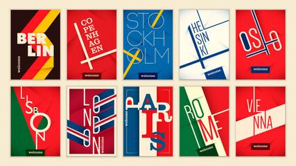 Set of European cities stickers design. Vector illustration.