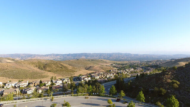 Simi Valley California USA suburbs Aerial Drone shot in 4k high resolution