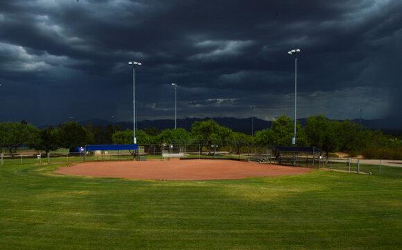 Baseball diamond awaiting the monsoon rains