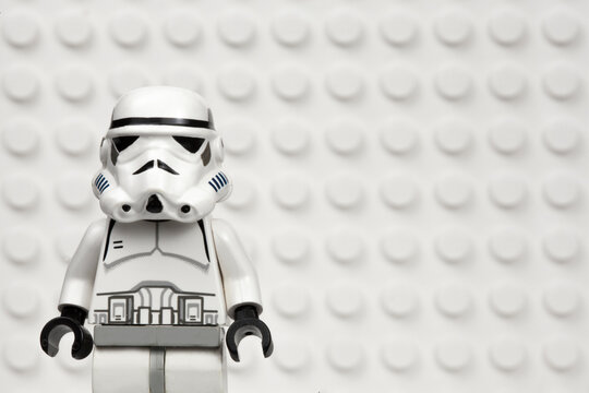 NEW YORK USA - MARCH 30 2020 - Lego style mini figure of an Imperial Stormtrooper against a white Lego board