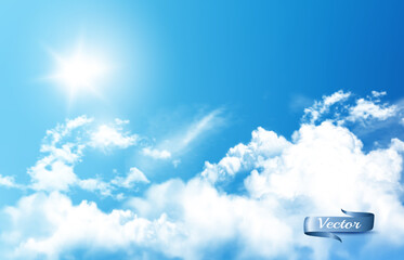 Blue sky nature background with white  transparent clouds and sun. Vector background.