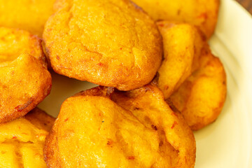 Nigerian Deep Fried Beancake - Akara ready to eat on Yellow Plate