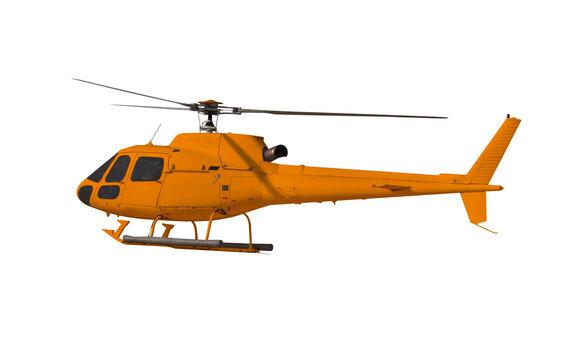 Orange helicopter isolated on white