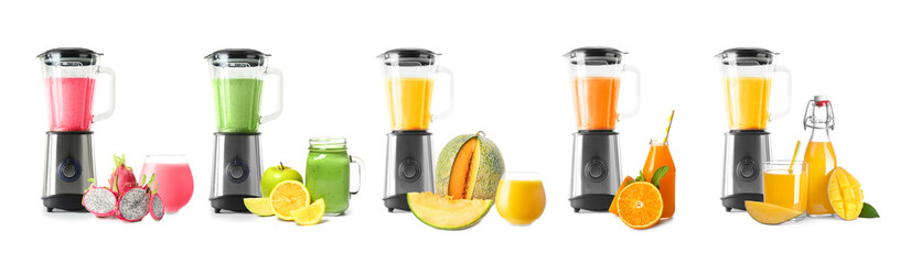 Blender with healthy smoothie on white background
