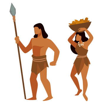 Neanderthals during prehistoric era, man and woman hunting and gathering