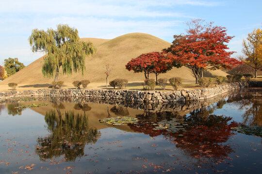 Autumn view of Daereungwon Royal Tomb park with the blue sky in Gyeongju, Soutn Korea
