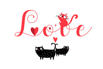 Vector lettering love with cats and hearts