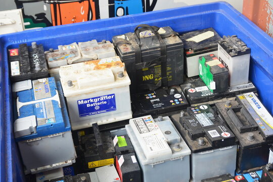 Used car batteries at recycling facility