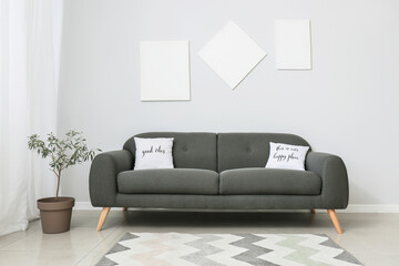 Interior of room with modern sofa