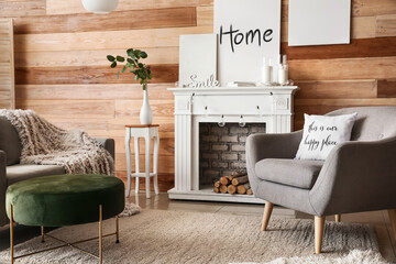 Wall Mural - Interior of modern room with fireplace