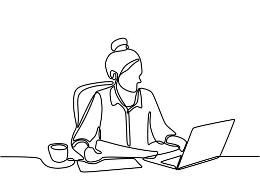 Continuous single drawn one line of woman with laptop. A young girl sitting and focus on her computer while typing on the keyboard. She home freelancer finishing job in her room. Vector illustration