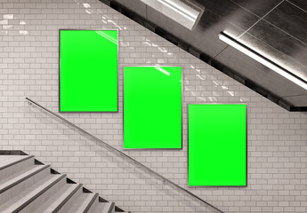 Fotobehang Hoogte schaal Three vertical billboards on underground stairs wall Mockup. Triptych hoardings advertising in white tiles tunnel interior. 3D rendering