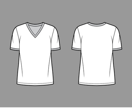 T-shirt technical fashion illustration with V neck, fitted oversized body short sleeves, flat style. Apparel template front and back white color. Women and men unisex garment mockup for designer.