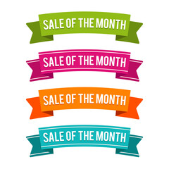 Colorful Sale of the Month ribbons on white Background.