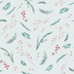 Wall Mural - Hand-drawn winter pattern with Merry Christmas branches and berry, fir and pine elements. Hand painted watercolor seamless organic backgraund pattern. Holiday wallpaper paper decor