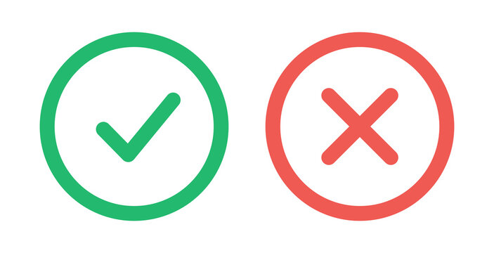 Tick and cross signs. Green checkmark OK and red X icons, isolated on white background. Simple marks design. Circle shape symbols YES and NO button for vote, decision, web. Vector illustration.