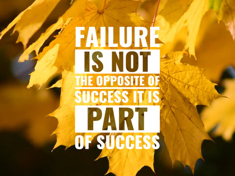 Inspirational and motivational quote. failure is not the opposite of success it is part of success