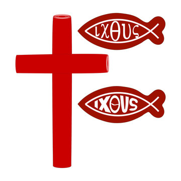 The icon of the cross. Ancient christian fish symbol. A sign with the inscription in biblical Greek language with the marking Jesus Christ the Son of God the Savior. Vector graphics for the church.