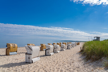 Beach chairs on a beach on the German Baltic Sea coast