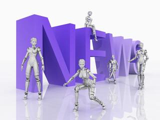 Das Wort NEWS mit 3D Figuren