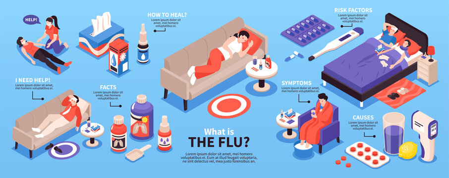 Cold Flu Isometric Infographics