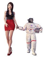 Junge Frau und Schimpanse im Raumanzug, Freisteller