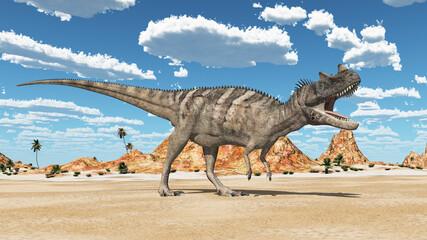 Dinosaurier Ceratosaurus in einer Wüste