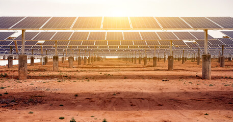 Solar photovoltaic area built in desert area