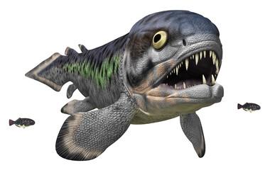 Prähistorischer Fisch Rhizodus, Freisteller