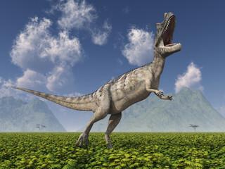 Dinosaurier Ceratosaurus in einer Landschaft