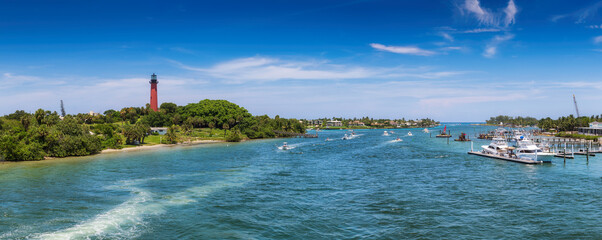Jupiter lighthouse panorama at sunny summer day in West Palm Beach, Florida