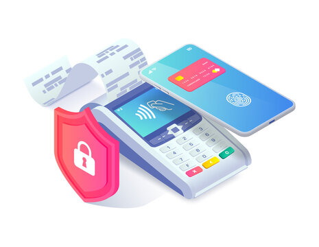 Safe Contactless payment via smartphone isometric concept. 3d payment machine and mobile phone behind shield isolated on white. Mobile transaction protection, NFC payment safety. Vector illustration