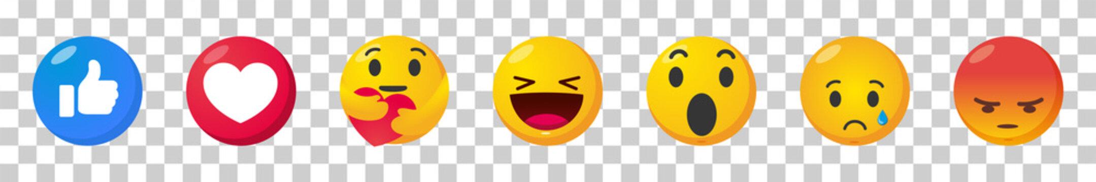 Facebook emoticon buttons. Collection of Emoji Reactions for Social Network. Vector illustration. EPS 10. Vinnitsa, Ukraine - July 2, 2020
