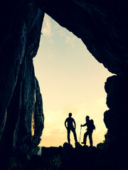 cave exploration of two fearless and brave adventurers and excursions in mystical places in unusual mountains