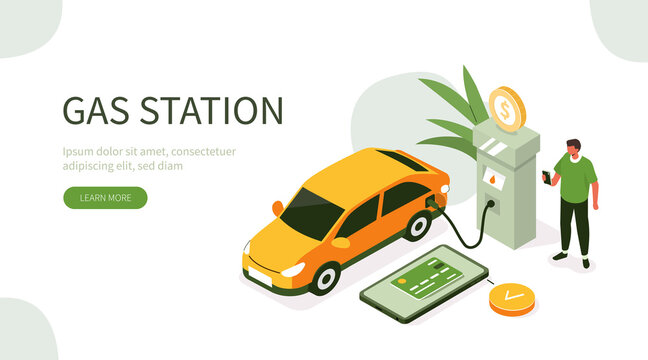 People Character Standing at Gas Station and Fueling his Car. Man Paying by Smartphone for Gasoline and Save Money. Fuel Economy Concept. Flat Isometric Vector  Illustration.