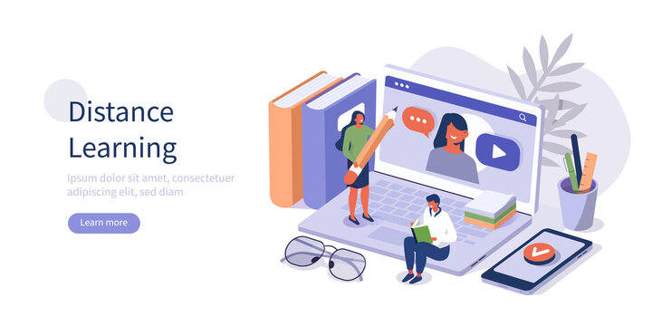 Students Learning Online at Home. People Characters Having Video Call with Teacher on Laptop and Studying with Smartphone. Online Education Concept. Flat Isometric Vector  Illustration.