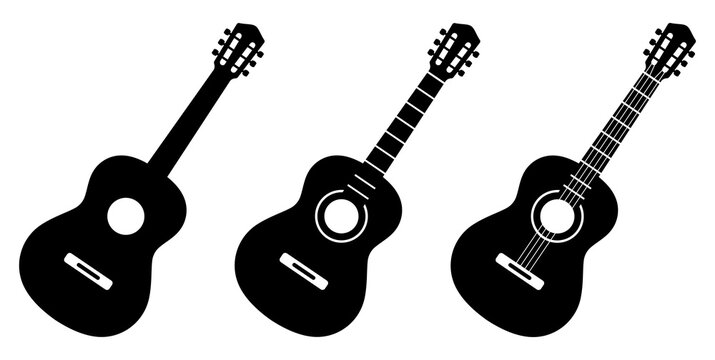 Guitar icon set. Acoustic guitar silhouette. Vector