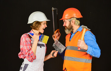 home renovation service. real estate deal. couple of architect wear hardhat. new house construction concept. Portrait of family wearing hardhat. worker in protective helmet. repair and building