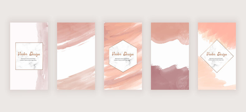 Watercolor social media stories banners with nude abstract freehand brush stroke shapes and marble frames