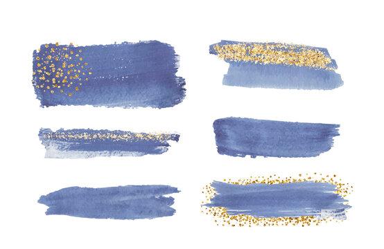 Blue watercolor brush stroke with gold glitter texture, confetti.